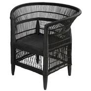 MALAWI bamboe rotan fauteuil en zwart - bim