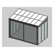 Solar greenhouse with sliding door panel blind 3.5m - bim