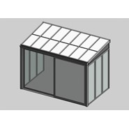 Solar greenhouse with sliding door panel blind 2.5m - bim